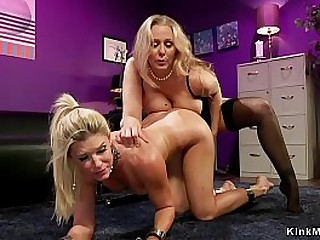 Busty lesbian Milf anal fucks blonde lady with strapping strap on